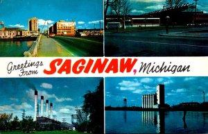 Michigan Saginaw Greetings Showing Genesee Street Bridge Grain Terminal Chevr...