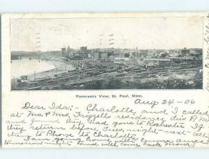 Pre-1907 MANY TRAIN CARS IN THE FOREGROUND Minneapolis-St. Paul MN i1713
