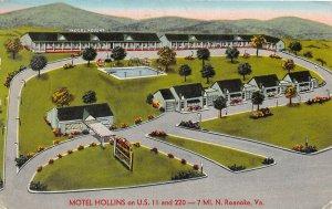 Roanoke Virginia 1960s Postcard Motel Hollins
