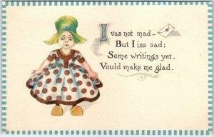 Vintage Greetings Postcard Little Dutch Girl I Vas Not Mad… c1910s