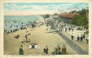 Bathhouse Boardwalk Beach Cedar Point Ohio #117 Teich 1925 Postcard 20-11109