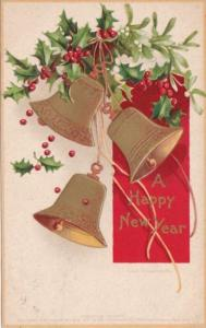Christmas Holly and Gold Bells 1908 Clapsaddle