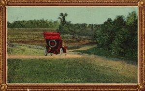 ?Vintage Postcard Motoring Vehicle Field Nature Trees Artwork