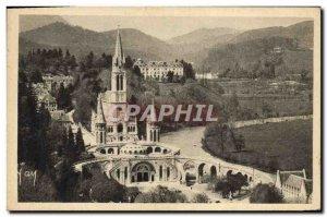 Old Postcard Lourdes Basilica View Du Chateau Fort