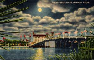 Florida St Augustine At Night With Moonlight Curteich