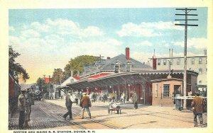 Dover NH B&M  Railroad Station Train Depot Postcard