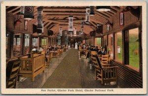 Vintage 1920s GLACIER NATIONAL PARK Postcard Sun Parlor, Glacier Park Hotel