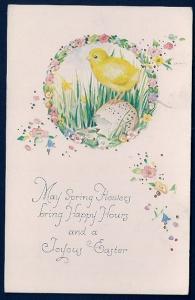 Spring Flowers Happy Hours Joyous Easter Chick unused c1910