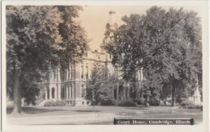 Illinois Il Real Photo RPPC Postcard c1930s CAMBRIDGE County Court House