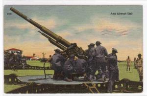 US Anti Aircraft Gun Army Military 1942 linen postcard