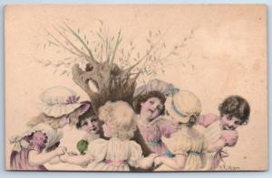 1900s Imperial Russia Little GIRLS and BOYS Easter Tree by Wichera Old Postcard