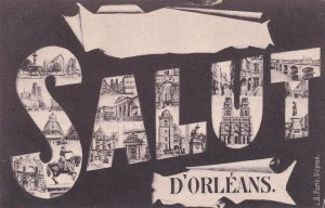 Salut D'Orleans French Paris Greetings Old Postcard