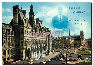 Postcard Modern Paris Hotel de Ville and Notre Dame of Paris Mayor Jacques Ch...