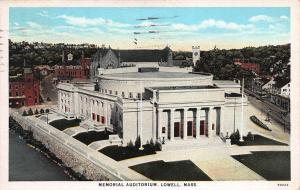 Memorial Auditorium, Lowell, Massachusetts, Early Postcard, Used in 1930