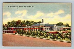 Winchester VA-Virginia, The Handley High School, Linen c1952 Postcard