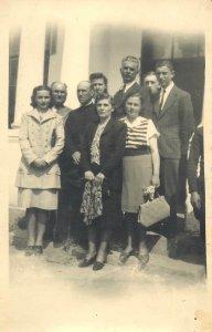 Postcard Social history woman man costume dress suit tie purse shoes group