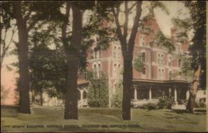 Suffield CT North Building of School c1920s-30s Hand Colored Postcard
