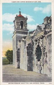 SAN ANTONIO, Texas; Tower and Carved Window of San Jose, Second Mission, Buil...
