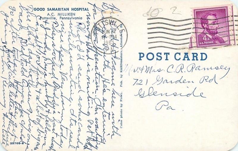 Pottsville Pennsylvania~Good Samaritan Hospital~AC Milliken~1963 Postcard