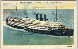 Steamship Postcard STEAMER GREATER DETROIT III - D&C Navigation Co. Linen 1944