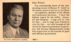 Massachusetts Lt Governor Horace T Cahill Running For Governor