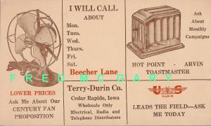 1953 Cedar Rapids IA Ad PC: Terry-Durin Electrical Wholesalers, Unused