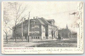 York NE~High School~United Methodist Episcopal Church~Horse and Wagon~c1905