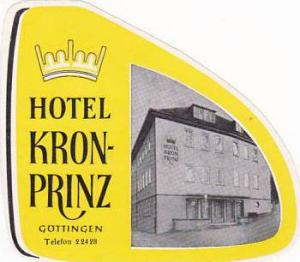 GERMANY GOETTINGEN HOTEL KRON-PRINZ VINTAGE LUGGAGE LABEL