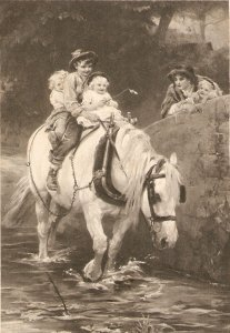 Children driving a white horse through a stream Old vintage English postcard