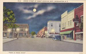 Union Street At Night Looking West Morganton North Carolina