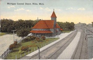 Michigan Central Depot, Niles, Mich. Railroad Vintage Postcard