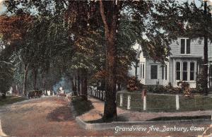 Danbury Connecticut~Grandview Avenue Homes~Dirt Road~1909 Postcard