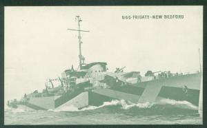 USS FRIGATE NEW BEDFORD Massachusetts TACOMA CLASS WWII  Military Ship Postcard