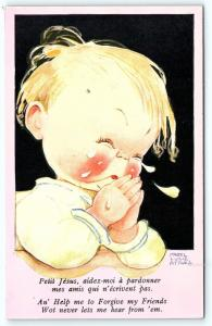 Postcard A/S Mabel Attwell Boy Praying Help Me Forgive My Friends A2