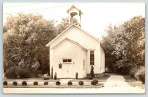 Watervliet Michigan~Tiny Free Methodist Church~Open Belfry~Driveway~1940s RPPC
