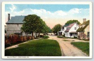 Yorktown Virginia~Main Street~Houses on Both Sides~Dirt Road Path~1920s Postcard