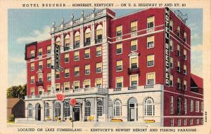 Somerset Kentucky Hotel beecher Exterior Linen Antique Postcard K22118