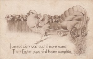 EASTER, 1900-10s; Chick drawn Shell wagon with eggs, Forget-Me-Not Flowers