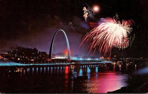 Missouri St Louis Gateway Arch and Riverfront With Fireworks