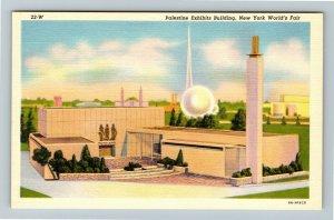 1939 New York World's Fair - Palestine Exhibits Building - Linen Postcard