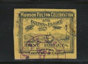 USA POSTER STAMP 1909 HUDSON FULTON EXPOSITION USED CLIPPED AVIATION PLANE