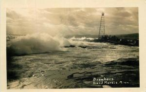 Breakers Grand Marais Minnesota 1934 RPPC Photo Postcard 12546