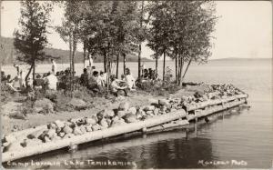 Camp Lorrain Lake Temiskaming Haileybury Ontario ON People RPPC Postcard E51