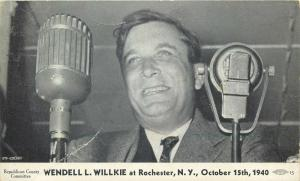 Republican President Candidate at microphone Wendell Willkie Rochester NY 1940