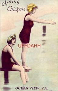 SPRING CHICKENS, OCEAN VIEW, VA. two ladies on diving board