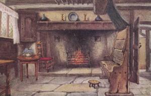 Chimney Corner in Anne Hathaway's Cottage, Stratford-Upon-Avon, Warwickshire,...