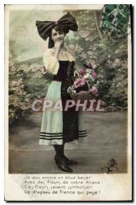 Old Postcard I send you a sweet kiss with flowers Notre Alsace know these flo...