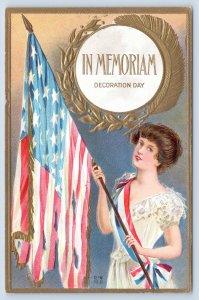 Patriotic~In Memoriam Decoration Day~Lovely Brunette Lady~Battle Torn Flag~NASH