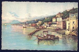 Posillipo Naples by Carelli unused c1940's