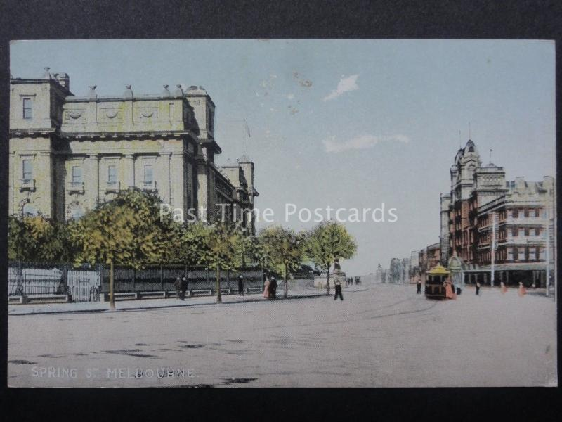 Australia MELBOURNE SPRING Street Old Postcard by R.E.M.